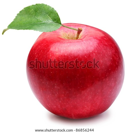 Red apple with leaf on a white background.
