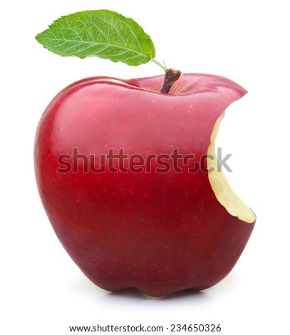Red apple with missing a bite isolated on white background