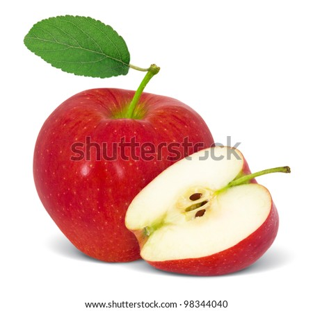 Red apple with slice and leaf isolated on white