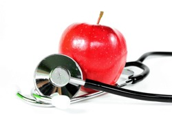 Red apple with stethoscope
