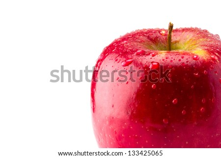 Red Apple with water dropets isolated on a white background
