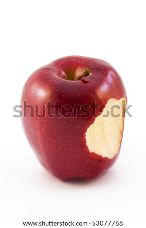 red apple witha bite taken out isolated on a white background