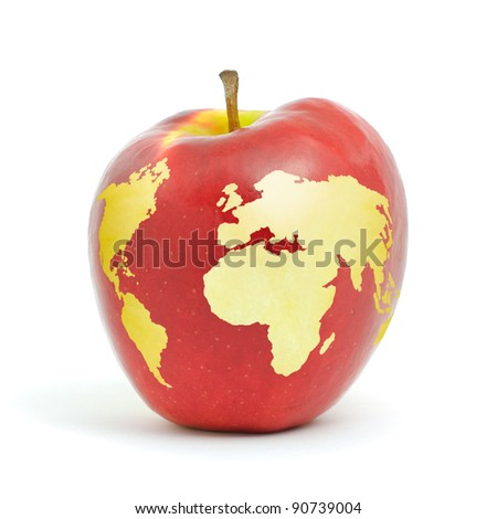 Red apple world map on white background.