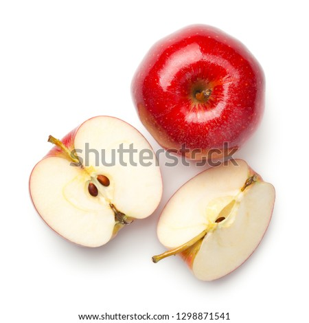 Red apples isolated on white background. Gala apple. Top view #1298871541