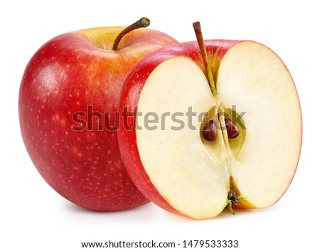 Red apples isolated on white background. Ripe fresh apples Clipping Path