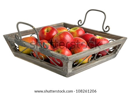 Red apples on a tray isolated on white.