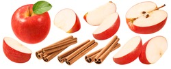 Red apples slices and cinnamon set isolated on white background. Package design element with clipping path