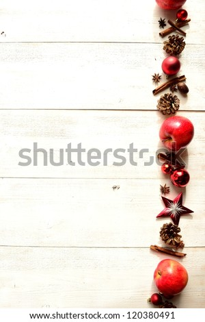 Red apples,spices and Christmas ornament