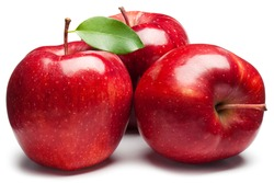 Red Apples with green leaf on white. This file is cleaned, retouched and contains clipping path.