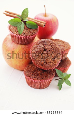 red apples with mint and cinnamon sticks - fruits and vegetables /shallow DOFF/
