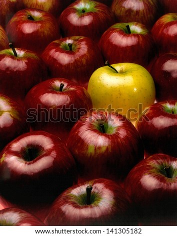 red apples with the exception of a yellow