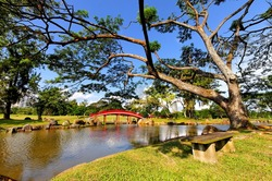 Red arch bridge and lake in Chinese garden