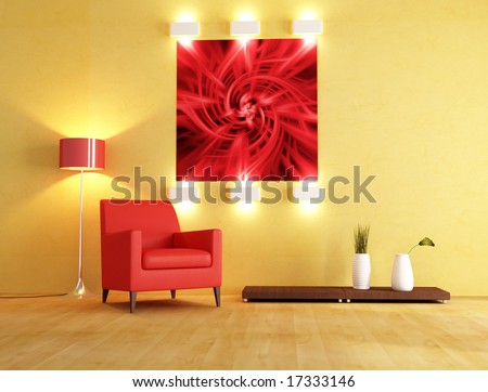 red armchair and abstract picture on background