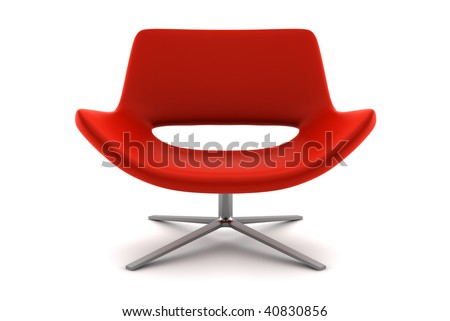 red armchair isolated on white background with clipping path