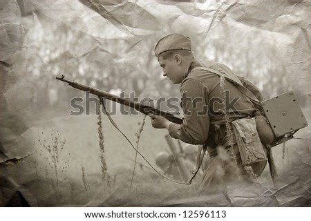 Red Army. Soldier with telephone wire. WW2 reenacting