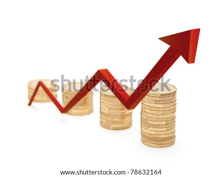 Red arrow and coins growth chart isolated on white background