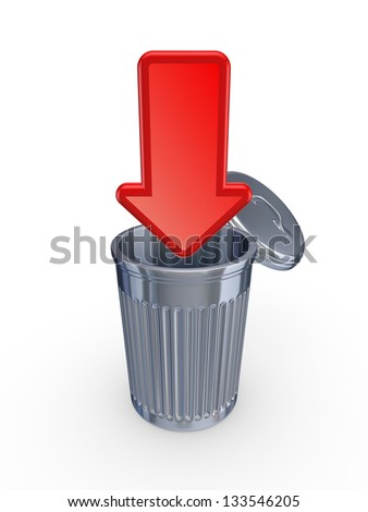 Red arrow and recycle bin.Isolated on white background.3d rendered.