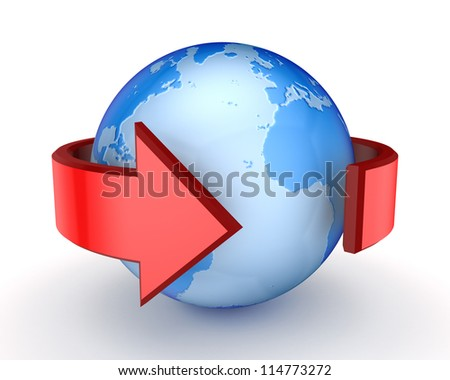 Red arrow around Earth.Isolated on white background.3d rendered.