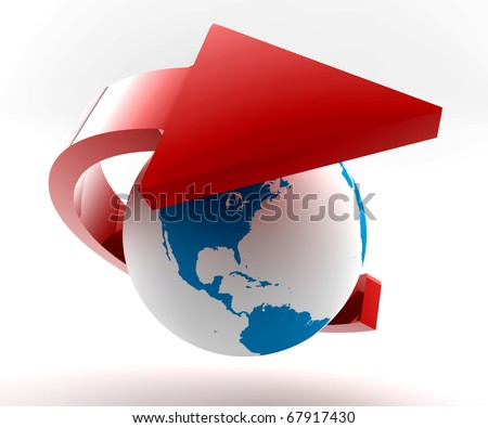 Red arrow around the world: Concept of global economy,communication and transportation