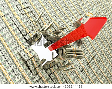 Red arrow breaking through the money wall