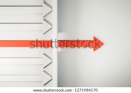 Red arrow breaking through wall on white background. Breakthrough and innovation concept. 3D Rendering