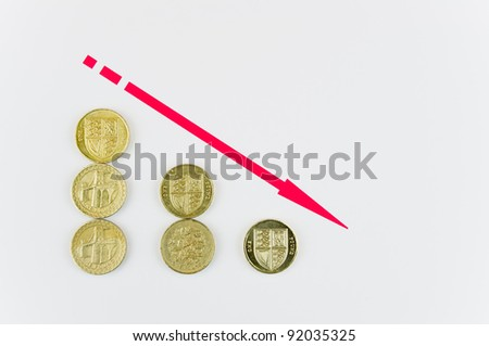 Red arrow down indicating going into the red in accounts / Falling pound coins