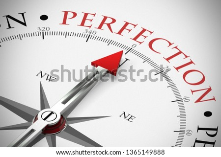 Red arrow from a compass points to perfection / perfection in business (3D Rendering)