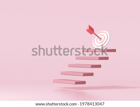 Red arrow hit the center of target on top of the staircase. business strategy and target achievement concept.3d render illustration