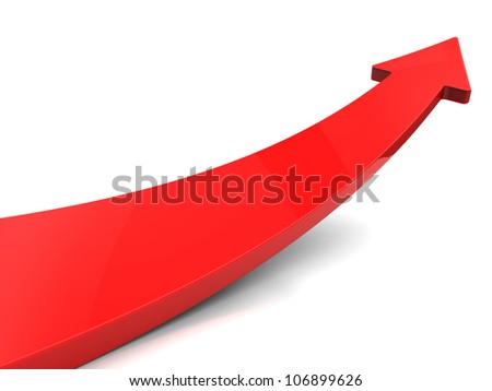 Red arrow  isolated on white background