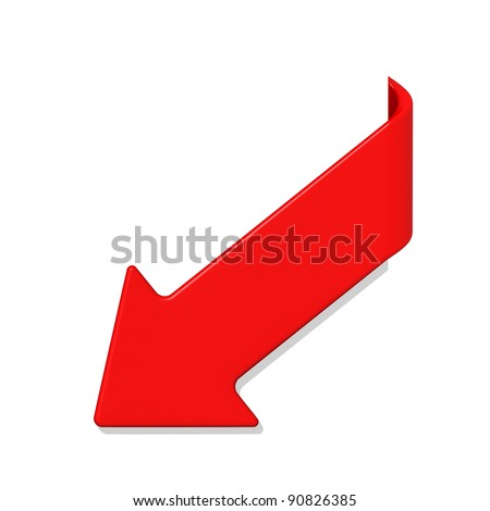 Red arrow isolated on white (with work path)