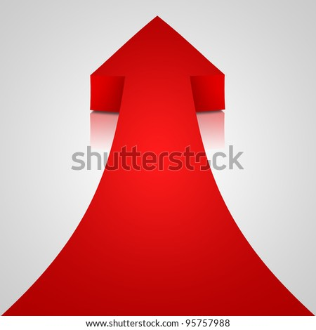 Red arrow on white background