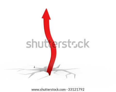 red arrow on white background isolated