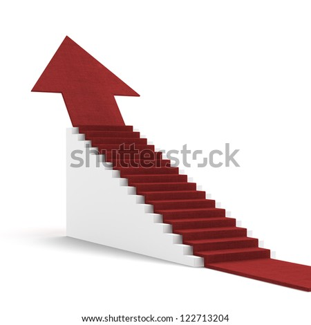 Red arrow on white stair isolated on a white background