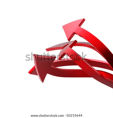 Red arrows on white background isolated