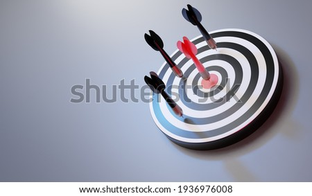 Red arrows reaching the center target. Darts target. target of business. Success Business Concept. 3d rendering