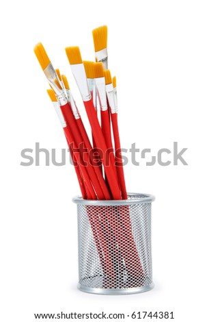 Red art brushes isolated on the white background