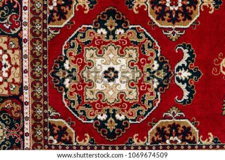 Red Asian Oriental Persian Carpet Texture Background
