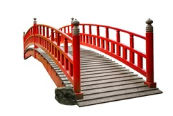 Red asian style wooden foot bridge isolated on white background