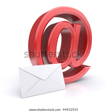 "Red ""at"" symbol with mail letter. 3d concept"