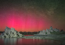 Red Aurora (Northern Lights) over Mono Lake in a rare display