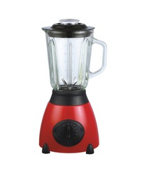 red automatic blender on white background