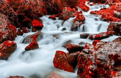 Red autumn river creek water. River creek in red autumn. Autumn river creek