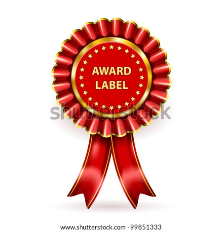 Red Award Label with ribbons and bow