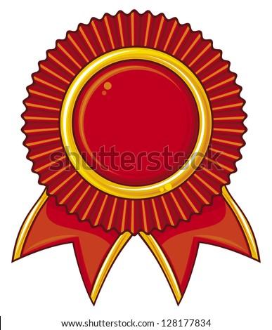 red award ribbon (award ribbon rosette, award ribbon)