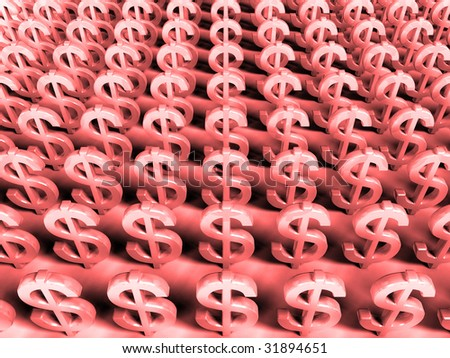 Red Background - 3D Render Money Signs - Global financial crisis
