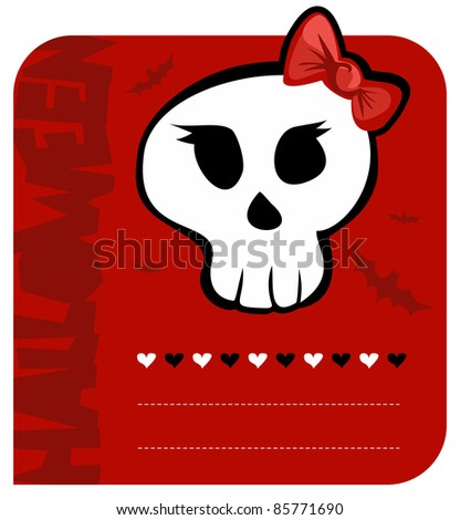 Red background funny skull girl halloween greeting card.