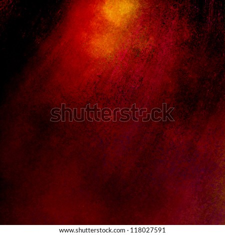 red background or black background, old distressed vintage grunge background texture border with bright dramatic spotlight in warm colors of gold and orange, graphic art image use for brochure or web