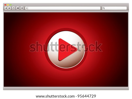 red background to internet video web browser with play button
