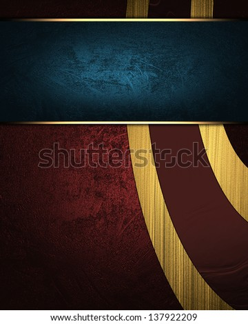 Red background with abstract patterns gold color and blue nameplate.