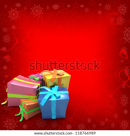 Red Background with Christmas gifts - stock photo